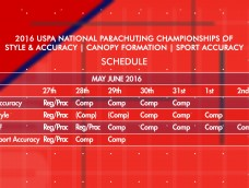 2016 USPA National Parachuting Championships – Schedule